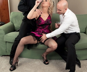 Hot older lady with blonde hair gets double fucked by her men friends