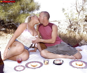 European BBW Samantha Sanders taking cumshot on huge tits outdoors