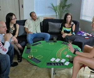 Two couples and lonely MILF Zoey Holiday enjoy group fucking after poker