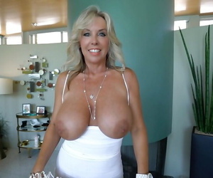 Buxom older MILF Sandra Otterson swallowing jizz and toying shaved vagina