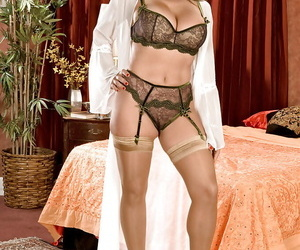 Horny mature with huge tits stripping from nylon stockings and lacy lingerie
