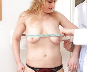 Older blonde lady in stockings Susan undergoing gyno docs fetish kinks