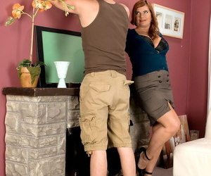 German mature cheats on her husband with young worker while nobody is home