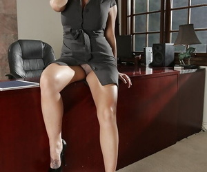 Brunette boss woman Shay Fox removes dress for lingerie photo shoot