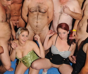 Two lusty girlfriends participate in hot sex action with group of horny men