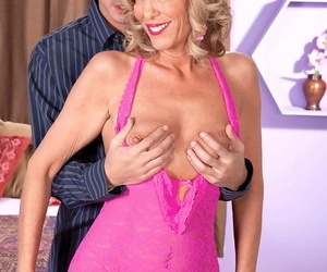 Hot lady over 50 Shannon West fucks her Latino lover in sexy lingerie