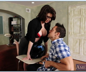 Gorgeous teacher in glasses gets hammered hard by her naughty student