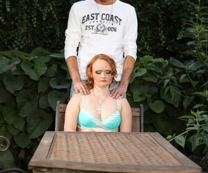 Pale redhead face sits man in the backyard before tugging on his dick
