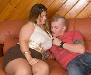 Fat cougar Hayley Jane seduces a boy while wearing a miniskirt