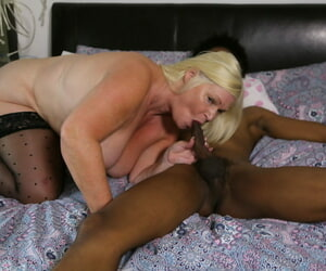 Fat granny in stockings Lacey Starr sucks a BBC before getting nailed