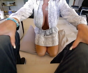 Mature housewife Sandra Otterson freeing huge boobs from lingerie