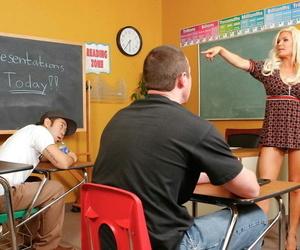 Busty blonde teacher Diamond Foxxx bangs another teacher after class is out