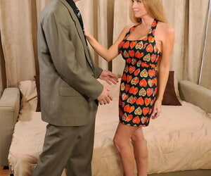Older woman Darla Crane and new lover fuck like bunnies on sofa bed