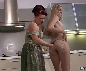 Lesbian mom girl fooling on the kitchen