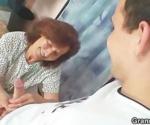 Sewing granny jumps on fresh cock
