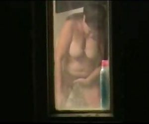 Spying my mom through window bathroom. Great view - 1 min 37 sec