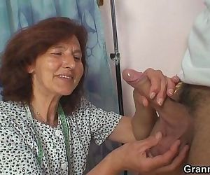 Sewing granny takes cock - 6 min