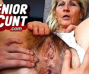 Milf Beate pussy close-ups and weird old pussy widening games - 6 min