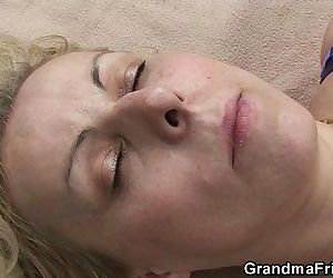 Blonde old women swallows two cocks outdoor - 6 min HD