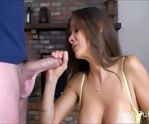 Stepmom catches son jerking off -feistytube.com