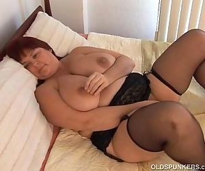 Beautiful busty MILF in stockings - 5 min