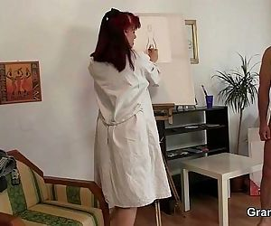 Oldie likes painting and hard cocks - 6 min