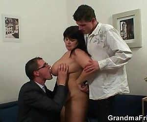 Fat bitch getting double fucked after photosession - 6 min