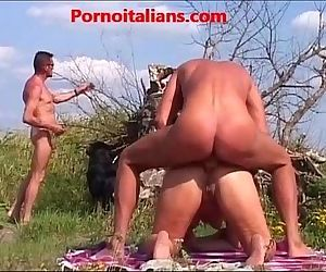 Mature fucked outdoors by several males - 8 min