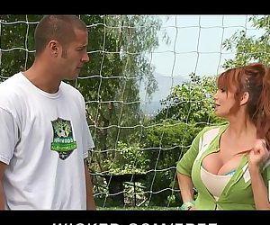 Big-tit British redhead Soccer mom Lia Lor fucks her sons coach - 5 min HD