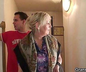 Busty granny is picked up by young stud - 6 min