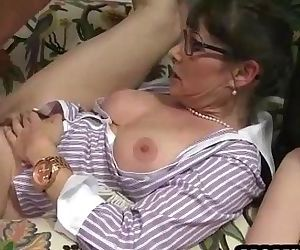 Horny threesome on the couch with a young and mature slut - 5 min