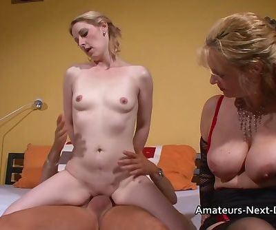 Pale blonde fucks with an older swinging couple