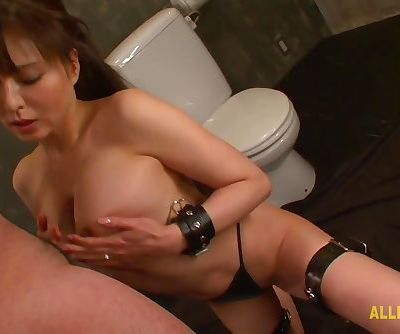 Japanese Kinky whore is on her knees sucking cock