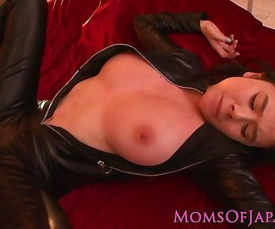 Busty costumed asian mom in catsuit facialized
