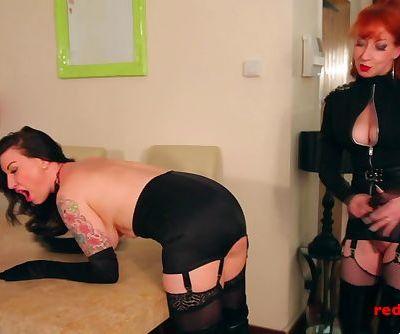 British MILF RED spanks and fucks her naughty tattooed slave girl