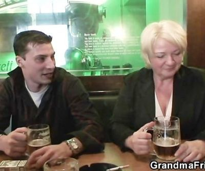 Hot threesome with totally drunk granny