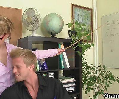 Guy fucks mature office woman on the floor