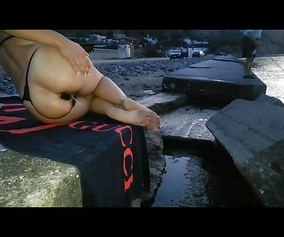 Amazing amateur greek milf play public with her but plug and sex toys