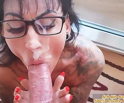 MEGA cum facial cumshot with glasses at german big tits tattoo milf 3 min 1080p