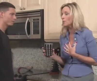 Mature stepmom with big tits fucks hard her 18yo stepson with monster cock