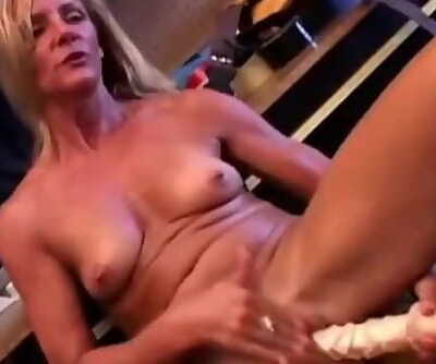 Gorgeous Mature Blonde in High Heels Fucks a Huge Dildo