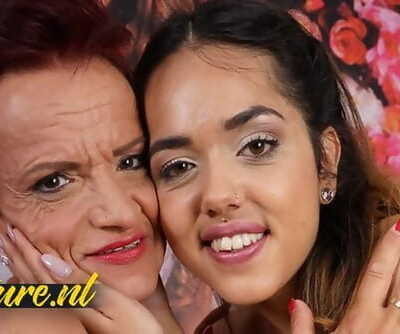 Kinky Granny Gets her Pierced Pussy Licked by a Petite Teen