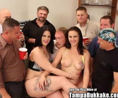 Stripper Sluts Swap Sperm in Bukkake Gangbang