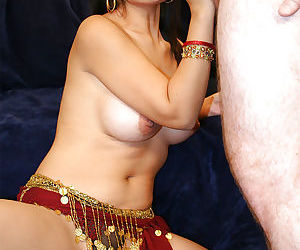 Busty indian babe gives a blowjob..