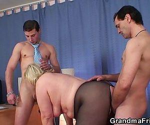 Grandma threesome at work place -..