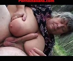 Busty old granny does blowjob..