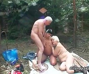Tanned slut and granny slut are..