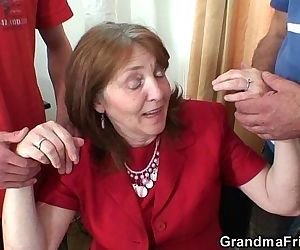 Busty granny in stockings rides..