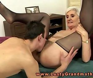 Blonde mature granny pussy eating..