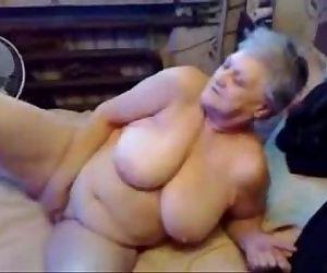 Nasty grandma fingering her..